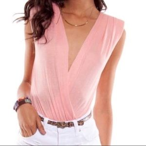 Tops - Pink Body Suit with Shoulder Pads